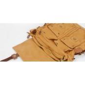 #05 'REPORTER XL' ™ Torba chlebak, bawełna skóra naturalna. zieleń brunatna / khaki
