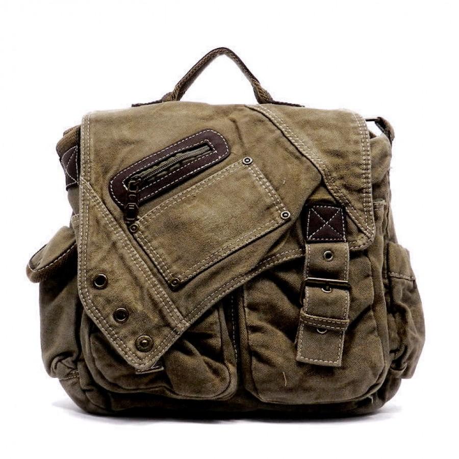 d6a3ad21a3beb MV10 Vintage Military Canvas Messenger Bag Shoulder Bag.  Bawełniano-skórzana torba na ramię ...