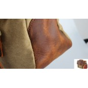#001 Torba na ramię listonoszka 'Messenger Vintage' płótno bawełna - skóra naturalna
