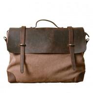 2. MESSENGER™ Teczka aktówka torba na laptopa. Bawełna - skóra naturalna. Kolor: kawowy
