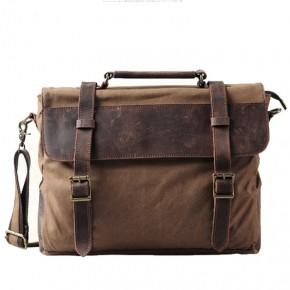 TT3 Torba na ramię listonoszka Messenger Vintage™  płótno bawełna - skóra naturalna. Kolor: kawowy