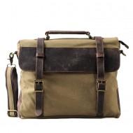 TT3 Torba na ramię listonoszka Messenger Vintage™  płótno bawełna - skóra naturalna. Kolor: khaki