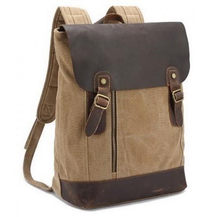 12PL Plecak  'VINTAGE'  płótno-skóra naturalna A4. Khaki