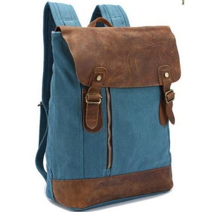 12PL Plecak  'VINTAGE'  płótno-skóra naturalna A4. Blue