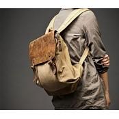 31 Plecak 'VINTAGE' płótno-skóra naturalna A4. Khaki