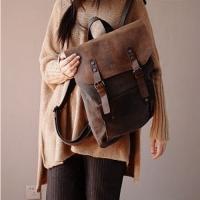 02TM Płócienny plecak VINTAGE damski / męski A4 z dodatkami ze skóry naturalnej. 6 kolorów