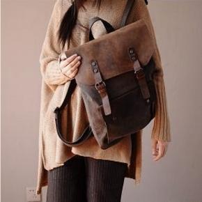 02TM Płócienny plecak VINTAGE damski / męski A4 z dodatkami ze skóry naturalnej. 4 kolory