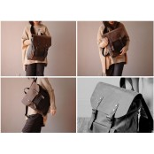 ✈ P2 Plecak 'VINTAGE 2' płótno-skóra naturalna A4.