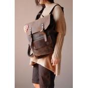 #01 Plecak 'VINTAGE 2' płótno-skóra naturalna A4 Kawowy