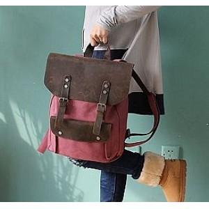 #01 Plecak 'VINTAGE 2' płótno-skóra naturalna A4. Czerwony
