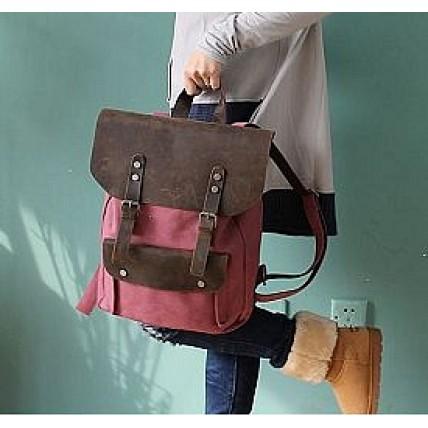 f22cfbc1ca6df #01 Plecak 'VINTAGE 2' płótno-skóra naturalna A4. Czerwony