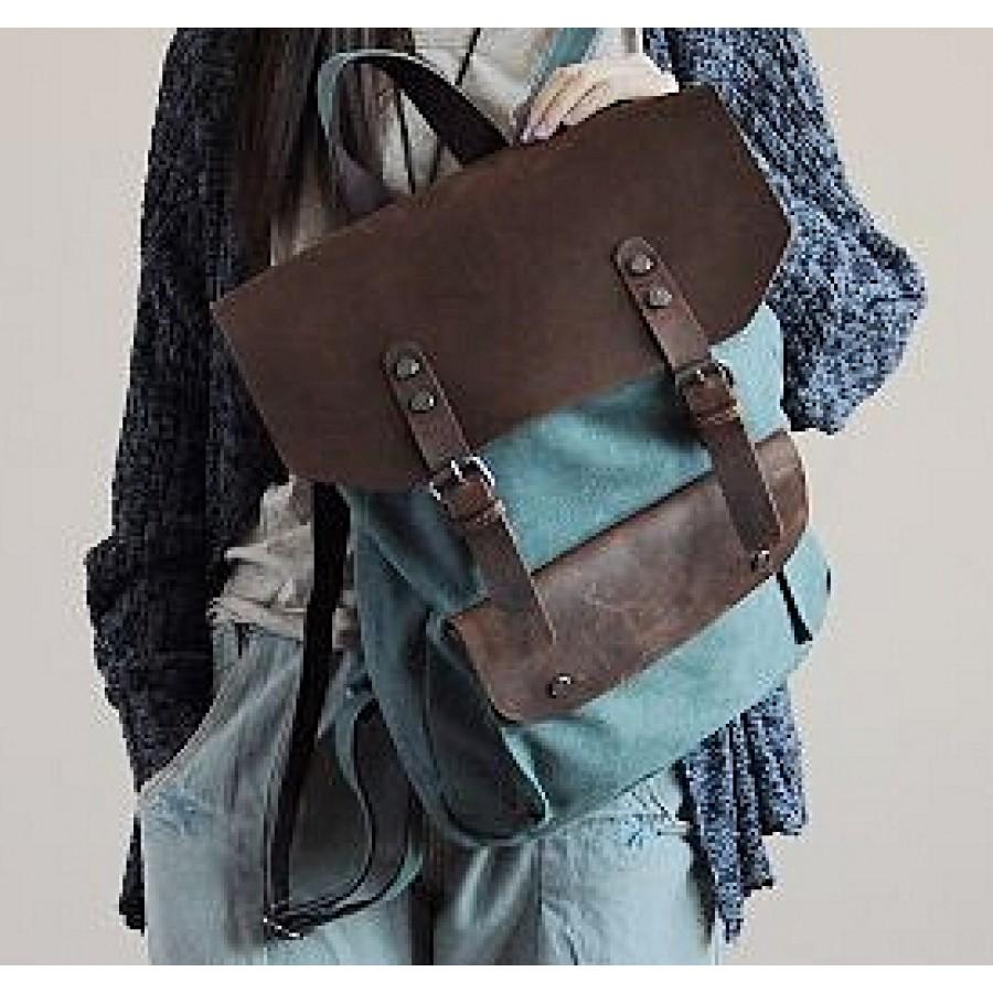 dfed9696b3b16 Plecak 'VINTAGE 2' płótno-skóra naturalna A4 Zielony - ☆ Torby i ...
