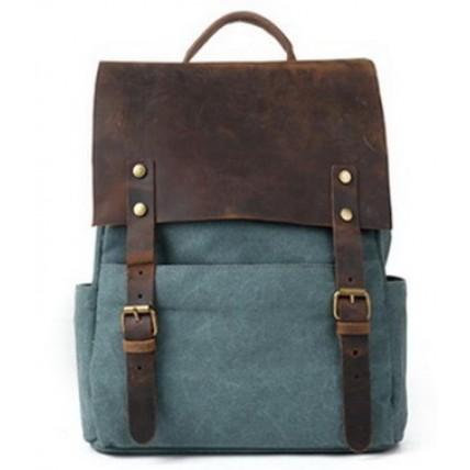 P3 Plecak 'VINTAGE 3' płótno - skóra naturalna A4 Zielony