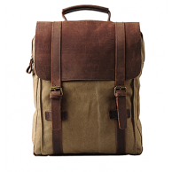 #05 Backpack VINTAGE 3 A4 Retro style. Canvas & cowhide leather. XL