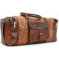 "#04 'Hold"" Large Distress Leather Duffle Bag Travel Bag"