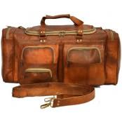 """UTP22 Torba podróżna na ramię vintage, skóra kożlęca. XL 24"""""""