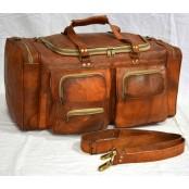 """#H0 Torba podróżna na ramię vintage, skóra kożlęca. XL 24"""""""