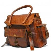 #H5 Torba podróżna na ramię vintage, skóra kożlęca.S