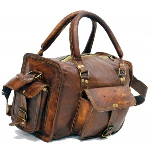 #H6 Torba podróżna na ramię vintage, skóra kożlęca.XL