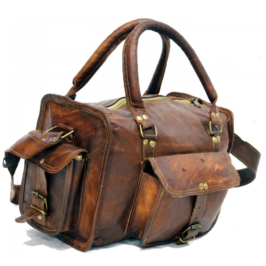 8b02f1ddc7638 Wspólne Skórzana torba podróżna na ramię vintage