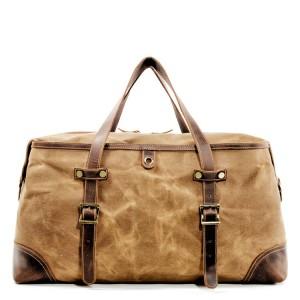 3. WaxCover Holdall Vintage™ Podręczna torba podróżna, weekendowa. Gruba bawełna woskowana i skóra naturalna. Damska / męska. Kolor: khaki