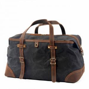 OUTL.  WaxCover Holdall Vintage™ Podręczna torba podróżna, weekendowa. Gruba bawełna woskowana i skóra naturalna. Kolor: CIEMNOSZARY