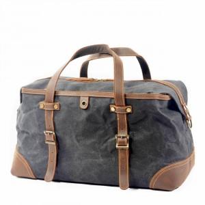 3. WaxCover Holdall Vintage™ Podręczna torba podróżna, weekendowa. Gruba bawełna woskowana i skóra naturalna. Damska i męska. Kolor: szary