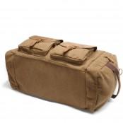 6. Weekender Vintage™ Weekendowa, podręczna torba podróżna . Gruba bawełna i skóra naturalna. Damska / męska. Kolor: kawowy