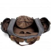 6. Weekender Vintage™ Weekendowa, podręczna torba podróżna . Gruba bawełna i skóra naturalna. Damska / męska. Kolor: ciemnoszara