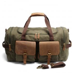 6. Weekender Vintage™ Weekendowa, podręczna torba podróżna. Gruba bawełna i skóra naturalna. Damska / męska. Kolor: zieleń wojskowa