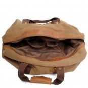 4. Holdall Vintage™ Weekendowa torba podróżna. Gruba bawełna i skóra naturalna. Damska / męska. Kolor: kawowy