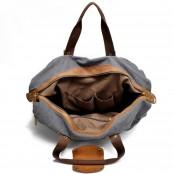 4. Holdall Vintage™ Weekendowa torba podróżna. Gruba bawełna i skóra naturalna. Damska / męska. Kolor: ciemnoszara