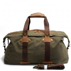 4. Holdall Vintage™ Weekendowa torba podróżna. Gruba bawełna i skóra naturalna. Damska / męska. Kolor: zieleń wojskowa