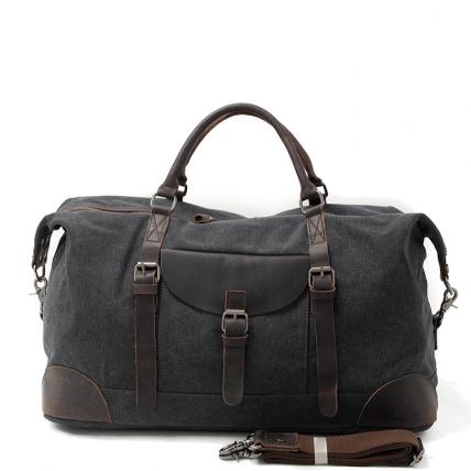 5. Duffle Vintage™ Weekendowa torba podróżna. Gruba bawełna i skóra naturalna. Damska / męska. Kolor: czarna