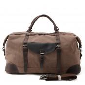 5. Duffle Vintage™ Weekendowa torba podróżna. Gruba bawełna i skóra naturalna. Damska / męska. Kolor: kawowa