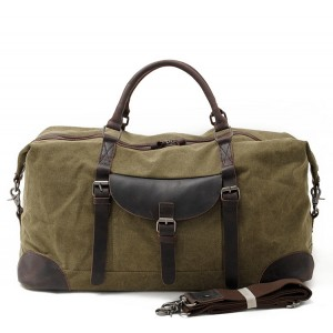 5. Duffle Vintage™ Weekendowa torba podróżna. Gruba bawełna i skóra naturalna. Damska / męska. Kolor: zieleń wojskowa