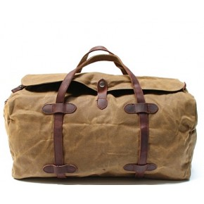 7. WaxCover Weekender II Vintage™ Podręczna torba podróżna, weekendowa. Gruba bawełna woskowana i skóra naturalna. Damska / męska. Kolor: khaki