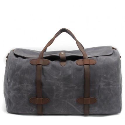 7. WaxCover Weekender II Vintage™ Podręczna torba podróżna, weekendowa. Gruba bawełna woskowana i skóra naturalna. Damska / męska. Kolor: szara