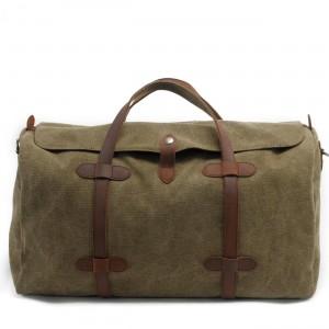 7. WaxCover Weekender II Vintage™ Podręczna torba podróżna, weekendowa. Gruba bawełna woskowana i skóra naturalna. Damska / męska. Kolor: zieleń wojskowa