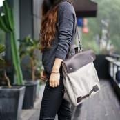 A4108  CYRIELLE 2w1™ Plecak - torba na ramię płótno - skóra naturalna damska