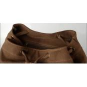 OUTL. OXFORD™ Plecak miejski płótno - skóra naturalna damska - BRĄZOWY