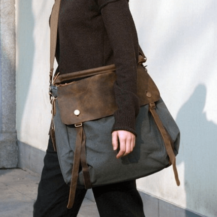 06TM Płócienno-skórzana damska torba worek na ramię crossbody MAI™ - szara