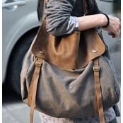A403  MAIL VINTAGE™  Damska miejska torba na ramię. Bawełna, skóra naturalna.