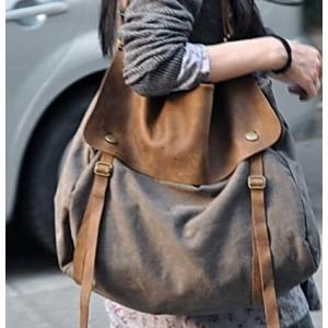 03TM Płócienna damska torba worek na ramię crossbody MAIL™ z dodatkami ze skóry naturalnej