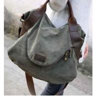 A401 MARK I  VINTAGE™  Damska miejska torba na ramię. Bawełna i skóra nat.