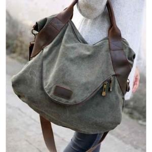 01TM Damska miejska torba na ramię MARK I VINTAGE™  Bawełna i skóra naturalna