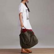01TM Płócienna damska torba na ramię MARK I VINTAGE™ z dodatkami ze skóry naturalnej