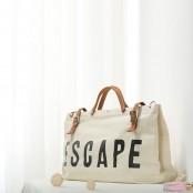07TM Płócienno-skórzana torba na ramię ESCAPE™. Bawełna i skóra naturalna.
