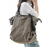 04TM Płócienno-bawełniana miejska torba na ramię KOUKO'™ damska / męska. Płótno - skóra synt. 2 kolory
