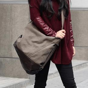 05TM Płocienna damska miejska torba worek na ramię SAFFI CROSSBODY™  Beżowa